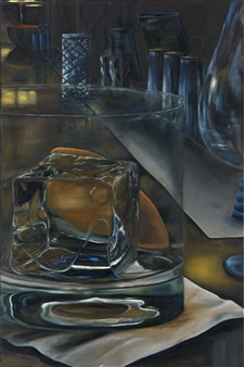 JANINA Leigue - One Cube Oil on Canvas, Paintings