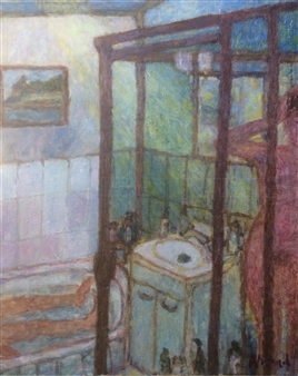 Jenny Ahmad - Green Shower and Sunlit Bathroom Oil on Canvas, Paintings