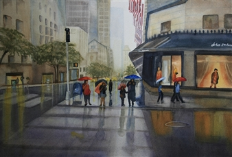 Tammy Phillips - Rainy Day In NYC Watercolor on Paper, Paintings
