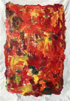 Susan Marx - Composition with Orange Acrylic on Canvas, Paintings