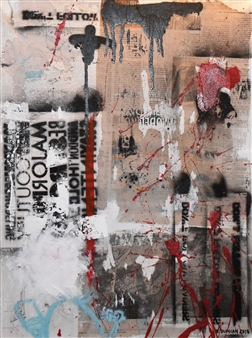 """Bulsby """"Buzz"""" Duncan - Unfolded Acrylic & Charcoal on Paper, Mixed Media"""