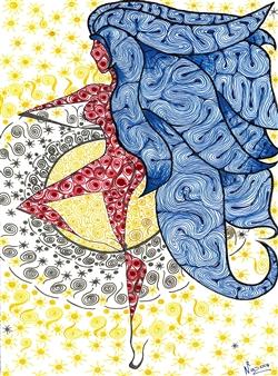 Nalayo - La Moza Espirituosa Black Fine Point Pen & Colored Markers on Paper, Drawings