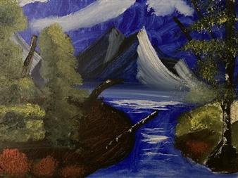 Aaron Cristofaro - Lakeside Mountain C Oil on Canvas Panel, Paintings