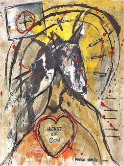 Marco Henrie - Heart of Gold Acrylic & Ink on Board, Paintings