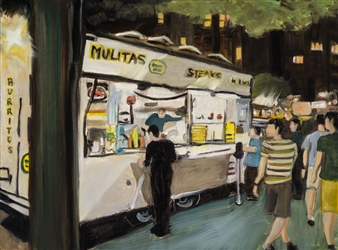 Clare Holzer - Danny's Tacos Oil on Canvas, Paintings
