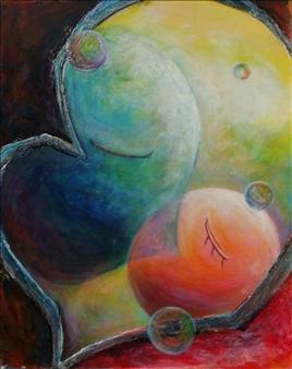 Kenji Inoue - Oriental Kiss Acrylic on Canvas, Paintings