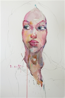 Becky Sungja Kim - WC Portrait 1707 Watercolor on Paper, Paintings