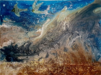 Maria Medrano - Serenity Sea Oil, Acrylic, Gesso, Resin on Canvas, Mixed Media