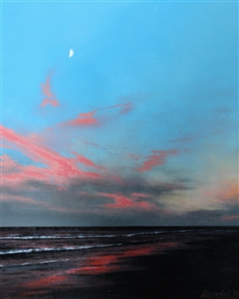 Michael Livolsi - Sunset with Moon (Myrtle Beach) Acrylic on Canvas, Paintings