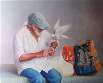 Rodolfo Regaño - The Beggar and the Dove Oil on Canvas, Paintings