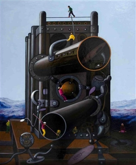 Pedro Vargas - Unknown Machine Oil on Canvas, Paintings
