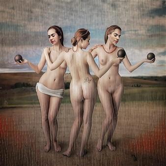 Alexander Pepe Roiz - Trois Sœurs Oil on Canvas, Paintings