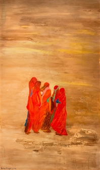 Fariba Baghi - Gathering Women Acrylic on Canvas, Paintings
