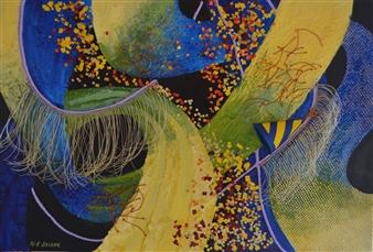 Helen E. Becker - Shortcut to the Party Acrylic & Collage on Canvas, Mixed Media