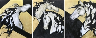 Margaret Culver - Checkmate Series, triptych Acrylic on Canvas, Paintings
