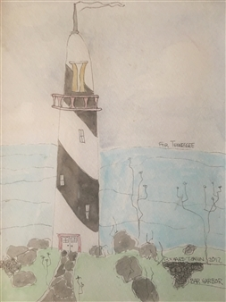 Richard Tomlin - Lighthouse Near Provincetown Watercolor on Paper, Paintings