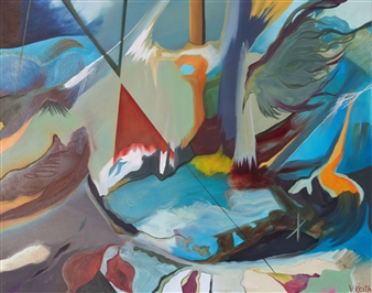 Veronica Keith - X Marks The Point Oil on Canvas, Paintings