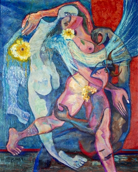 Hector Anchundia - Angel, Demonio, Carne Acrylic on Canvas, Paintings