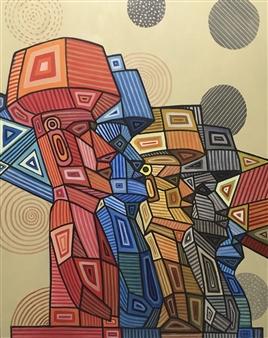 Don Kosta - Moai Acrylic on Canvas, Paintings