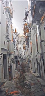 Claudia Breidenbach - Alley of Puttignano Acrylic & Collage on Canvas, Mixed Media