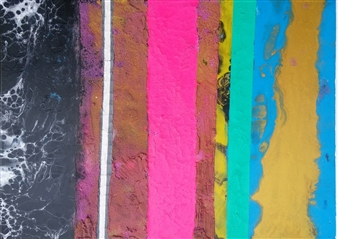 Sylke Singelmann - Bunt Nr. 18 Mixed Media & Acrylic on Canvas, Mixed Media