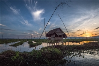 Olga Loschinina - Fishing Hut. Inle Lake. Myanmar. Photograph on Plexiglass, Photography