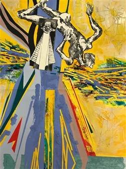 Michael Dolen - Circus Performer Swimming with His Icon Colored Lithograph and Mixed Media on Paper, Mixed Media