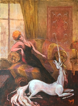 Rody - Lady with Unicorn Oil on Canvas, Paintings