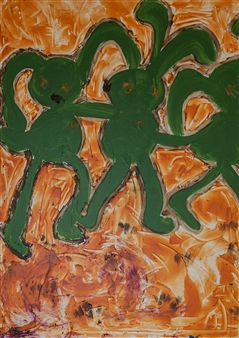 Ewa  - Dancing Bunnies Acrylic on Canvas, Paintings