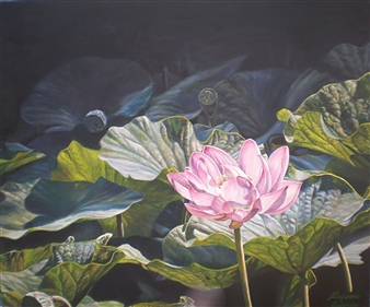 Sayumi Osanai - Ancient Lotus 2 Oil on Canvas, Paintings
