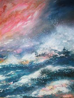 Caroline Degroiselle - Radiance of Waves, Radiance of Life Acrylic on Canvas, Paintings