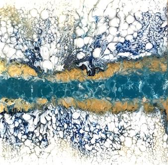 Deborah Helms - Mountain Aspens Acrylic & Resin on Wood, Mixed Media