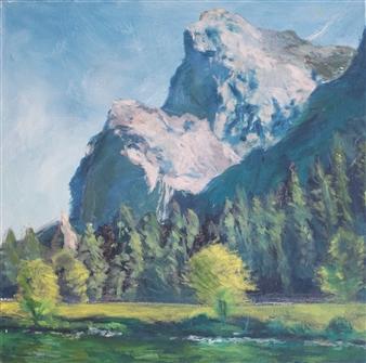 Margaret Adams - Gregorian Cliffs Oil on Canvas, Paintings