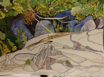 E. Halfpenny - Sand River Flats Watercolor & Ink on Paper, Paintings