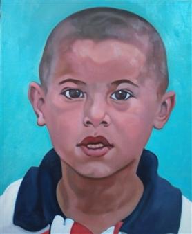 Takumi Kata (TAKU) - A Little Boy at Samarkand Oil on Canvas, Paintings