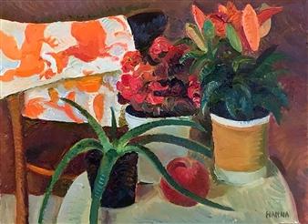 Hana Vater - Still Life with Aloe_1 Oil on Canvas, Paintings