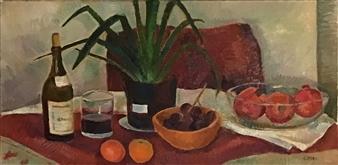 Hana Vater - Still Life with Pomegranates Oil on Canvas, Paintings