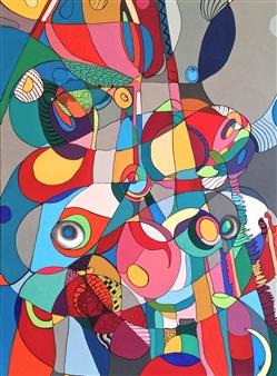 Laura Colantonio - Louis Acrylic & Ink on Canvas, Paintings