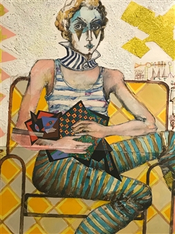 Michael Dolen - Circus Performer with a Cat 238S Mixed Media on Paper, Mixed Media