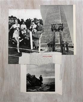 William Atkinson - Lane Marker 1 Mixed Media & Collage on Board, Mixed Media