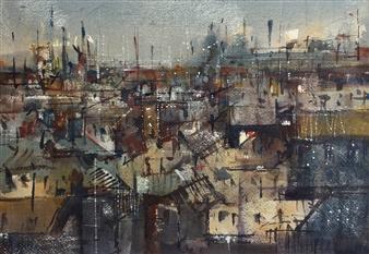 Alejandro Miras - Paisaje en Gris Watercolor, Paintings