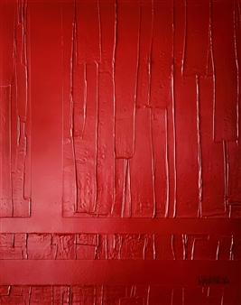 Natalia Gaviria - Red Wood Gesso, Acrylic & Spray Paint on Canvas, Paintings