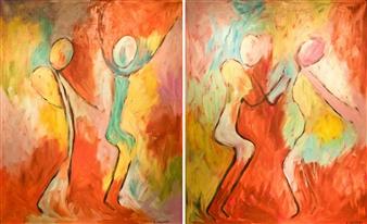 Aila Snickars - Gymnastics Acrylic on Canvas, Paintings