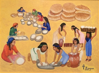 Ragaa Mansour - Bread Oil on Canvas, Paintings