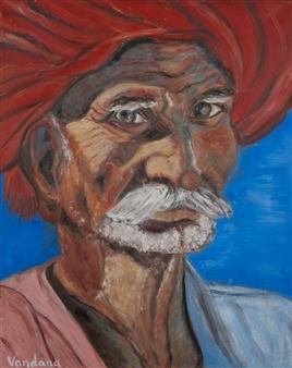 Vandana Nittoor - The Old Man Oil on Canvas, Paintings
