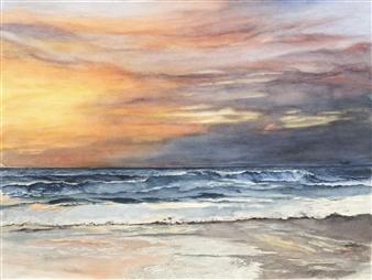 Nancy Holleran - California Del Mar Sunset Watercolor on Paper, Paintings
