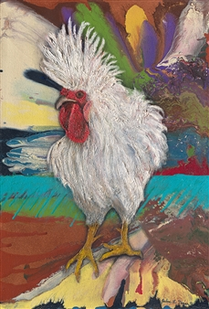 Julius L. Meyer - Mi Gallo Loco Acrylic & Oil on Canvas, Paintings