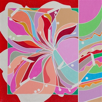 Ai-Wen Wu Kratz - Color Logic II / Red Acrylic on Canvas, Paintings
