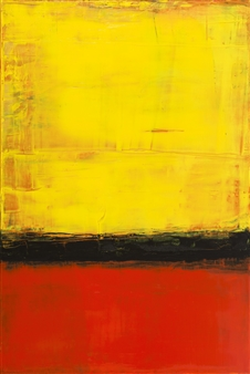 Catherine Timotei - Field Painting: Yellow on Orange Oil on Linen, Paintings