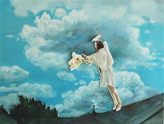 Eunmi Park - White Angel Mixed Media & Acrylic on Canvas, Mixed Media